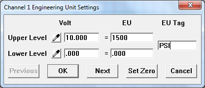 Engineering units settings dialog box
