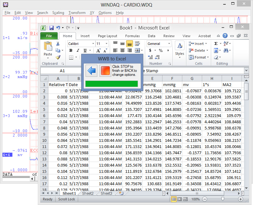 Export-to-Excel Add-on Beta for WinDaq Waveform Browsers