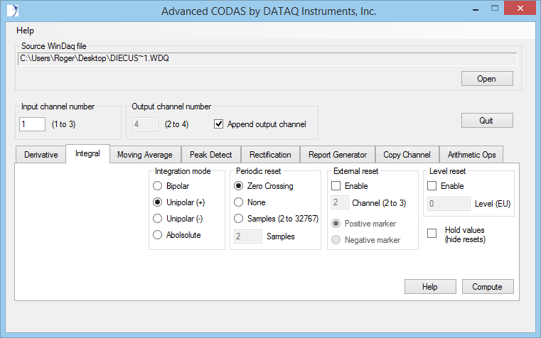 Figure 1 -- The Advanced CODAS integration utility is only of many analysis functions that may be applied to WinDaq-acquire data.
