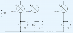 Schematic of two or more 2-wire 4-20 mA sensors powered by a single power supply.