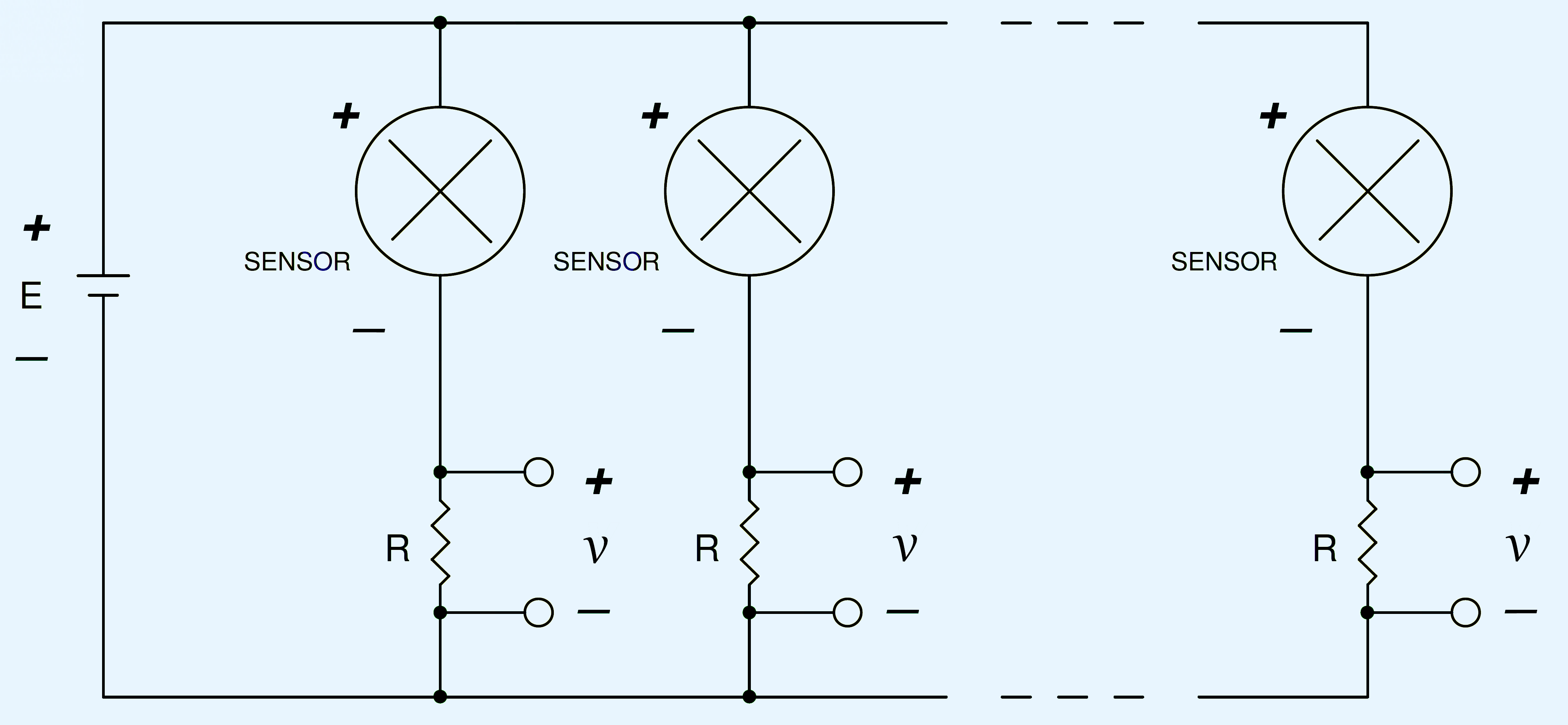 Schematic of two or more 2-wire 4-20 mA sensors powered by a