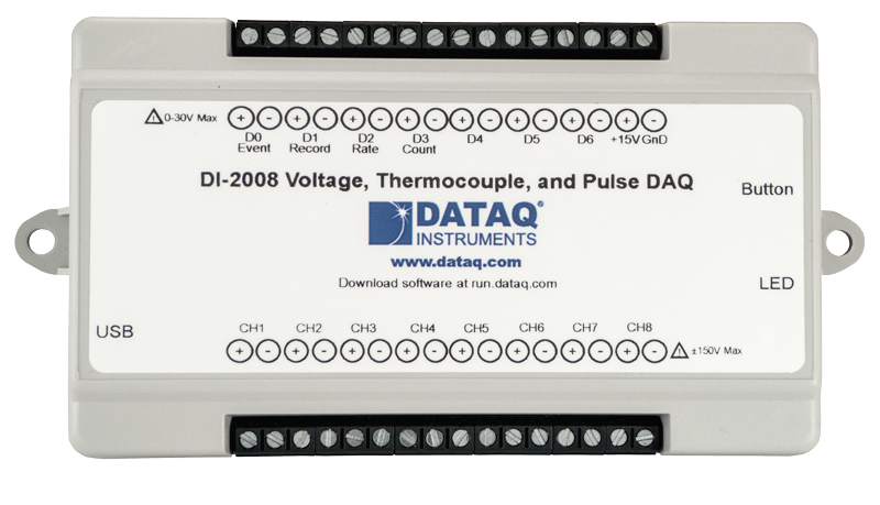 New model DI-2008 volt, milli-volt, thermocuople, and pulse DAQ