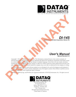 DI-145 USB Data Acquisition Starter Kit Hardware Manual
