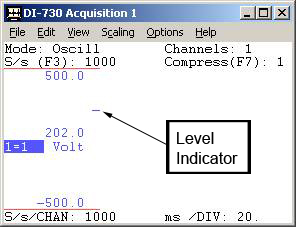 level indicator for frequency acquisition