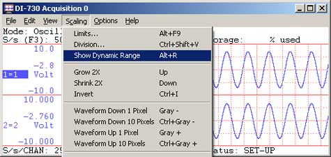 Data acquisition waveform with show dynamic range enabled