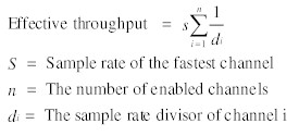 Data Acquisition Effective Throughput Rate general equation