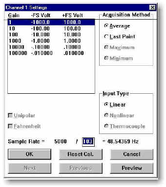 data acquisition channel settings