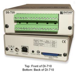 Front and rear panel view of DI-710 stand-alone data logger.