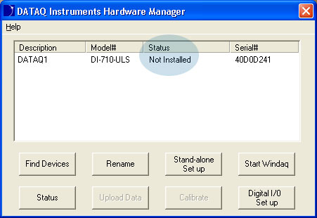 The DATAQ Instruments Hardware Manager